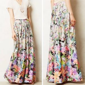 Anthropologie Ranna Gill lined floral maxi skirt